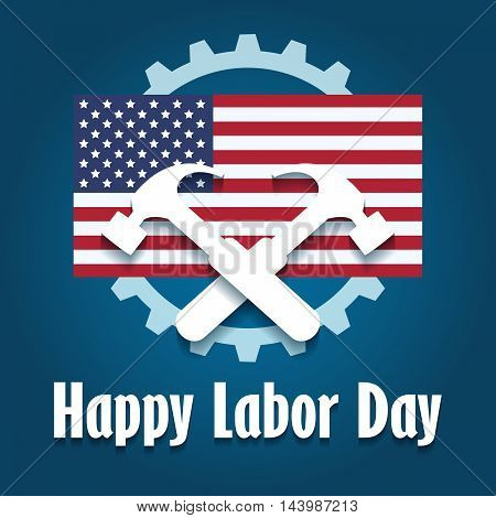 Happy Labor Day Emblem with american flag and two hammers.