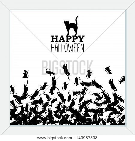 Happy Halloween banner with black rats and cat. Vector leaflet.