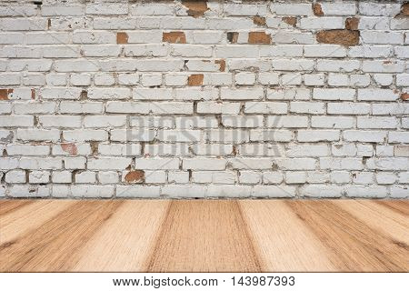 Empty table and white brick wall background product display template