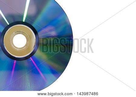 part of DVD disc for data storage on white background