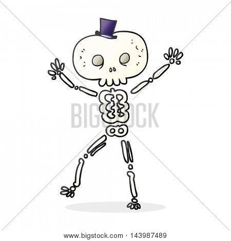 freehand drawn cartoon dancing skeleton