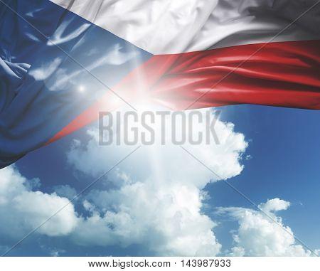 Czech Republic flag on a beautiful day