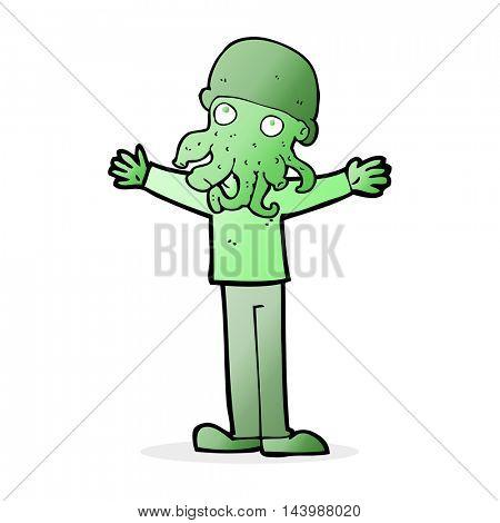 cartoon alien squid face man