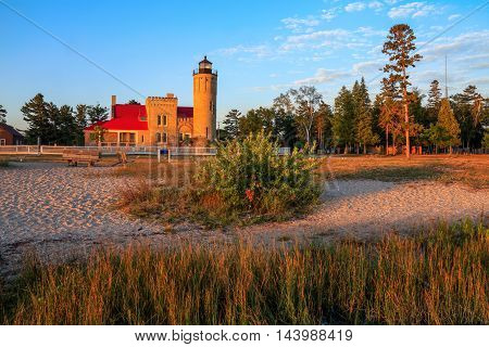 The Old Mackinaw Point Lighthouse At The Straits Of Mackinaw Michigan's Lower Peninsula USA