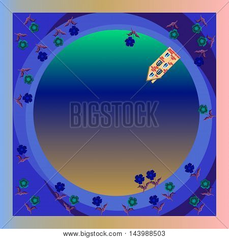 Porthole. Planet. Sky. Night landscape. Northern Lights. Vector bandana print or silk neck scarf. Kerchief square pattern design style for print on fabric. Beautiful tablecloth.