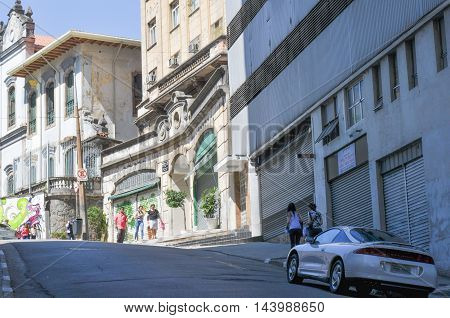 Street Called Riachuelo  Street In Downtown In The City Of Sao Paulo, And Background Buildings