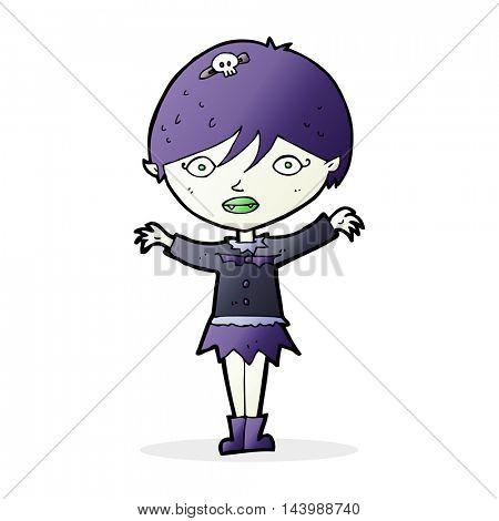 cartoon waving vampire girl