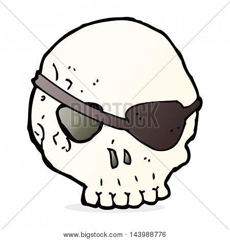 cartoon skull with eye patch