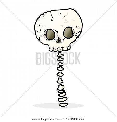cartoon spooky skull and spine
