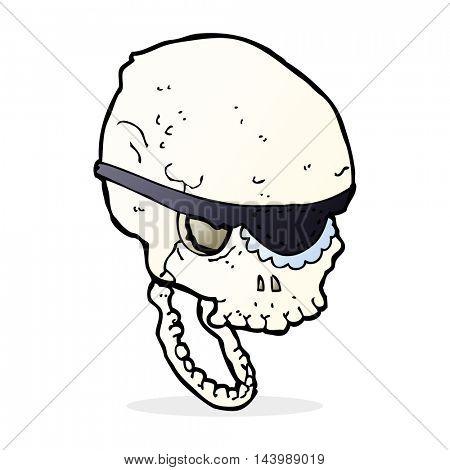 cartoon spooky skull with eye patch