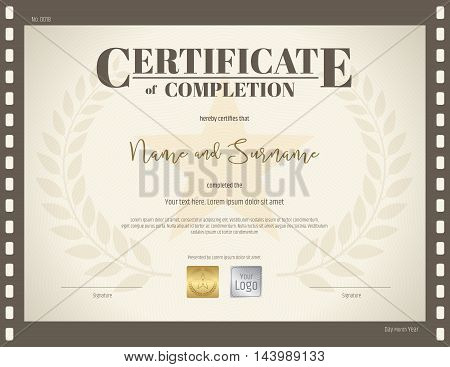 Certificate of completion template in brown color with movie and film theme