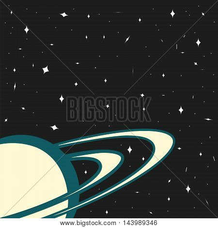 Space background planet Saturn on a starry background template for website design magazine cover or music album vector illustration of a space style