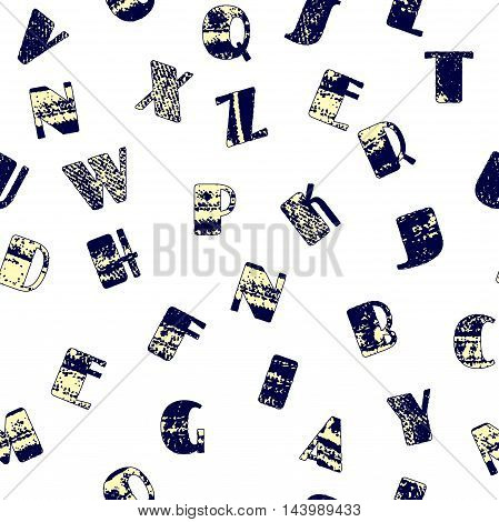 Seamless vintage style pattern jeans texture grunge letters. wrapping paper pattern