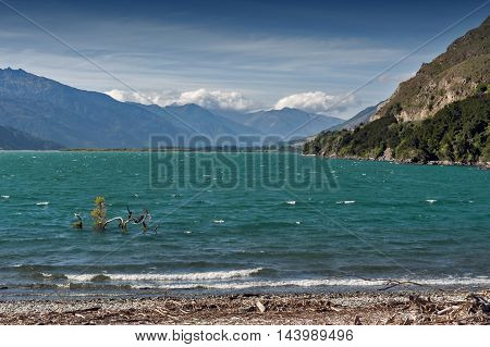 Lake Wanaka located in the Otago region of New Zealand