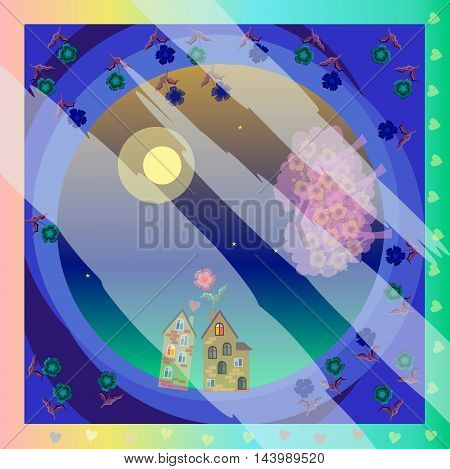 Romantic pattern with lovers houses and blooming trees. Moon night. Kerchief square pattern design style for print on fabric. Vector illustration.