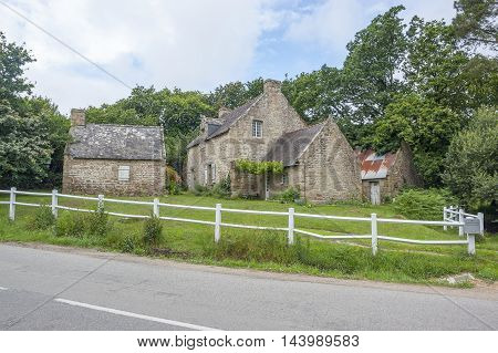 traditional breton stone house near Carnac a commune in the Morbihan department of Brittany France