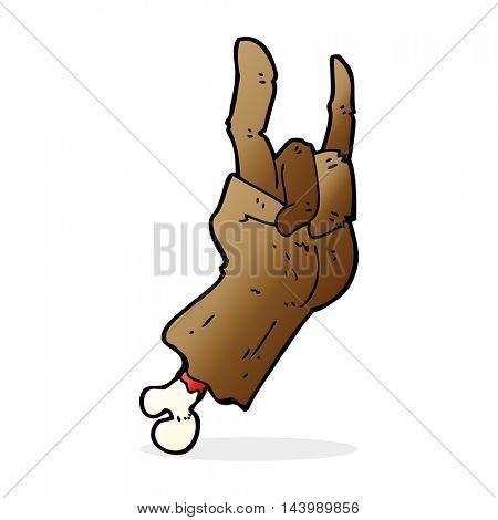 cartoon hand making rock symbol