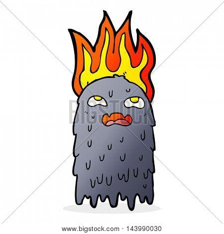burning cartoon ghost