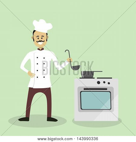 Vector Chef Cook With An Oven