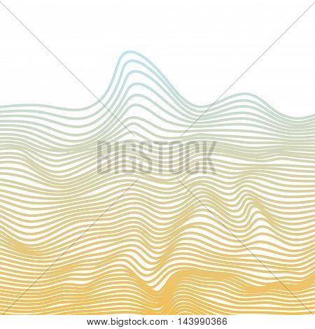 Abstract vector texture of curving narrow stripes in blue and yellow visual halftone effect illusion of movement dynamical ripply surface. Distressed background of lines. Isolated linear texture.