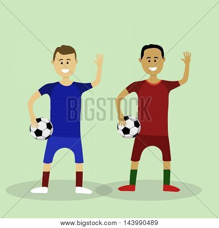 Two Vector Soccer Players In Euro 2016 Finalists Uniform