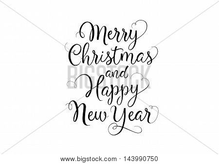Merry Christmas and Happy New Year lettering. Black calligraphic inscription with curl elements on white background. Handwritten text can be used for greeting cards, posters, banners