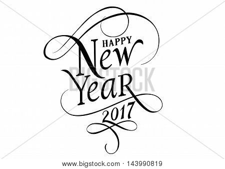 Happy New Year 2017 lettering. New Years Day design element. Typed text. For greeting cards, posters, leaflets and brochure.
