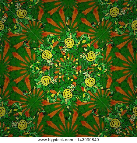 Seamless pattern. Decorative pattern with mandalas in beautiful colors. Vector background