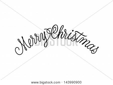Merry Christmas calligraphic lettering. Black Merry Christmas inscription on white background. Handwritten text can be used for greeting cards, posters, banners