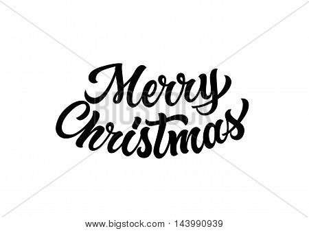 Merry Christmas lettering. Black Merry Christmas inscription on white background. Handwritten text can be used for greeting cards, posters, banners