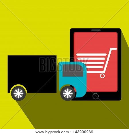 truck delivery shipping market vector illustration eps 10