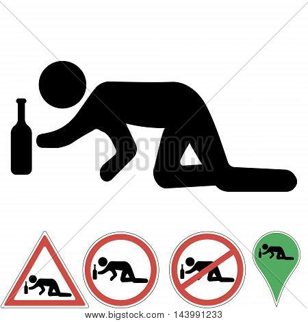 Icon a drunk man crawling on his knees for a bottle of alcohol prohibition sign a pointer permits warning signs Vector illustration for print or website design.