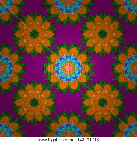 Vector boho chic flower seamless pattern. Mandala design element. Unusual flourish ornament. Blue green yellow lilac orange. Vector illustaration.