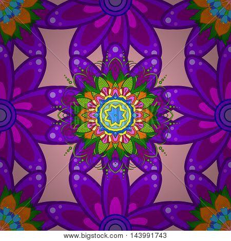 Six petal lilac flower on light pink background. Mandala doodle style. Vector illustration. Seamless pattern