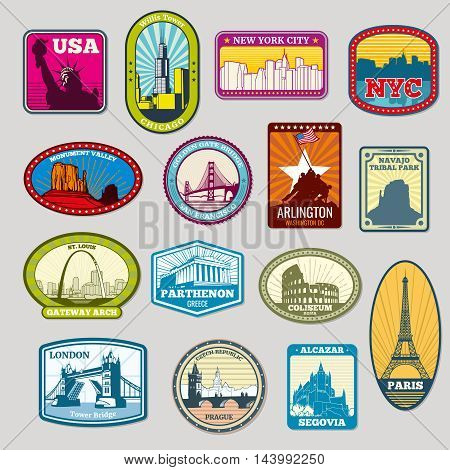World famous monuments and landmarks labels, emblems. Travel tourism. Vector illustration