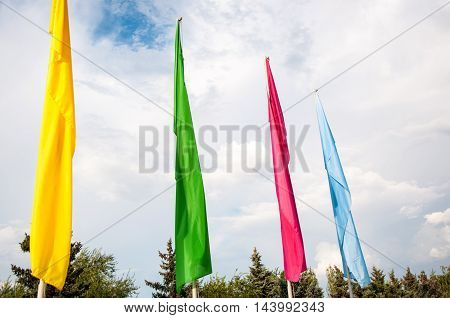 Colorful Flags Are Swaying In The Wind