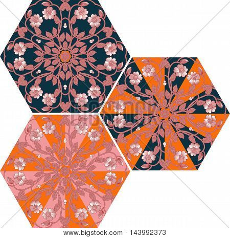 Collection of hexagonal templates with flowers for umbrella or ceramic tile. Vector illustration.