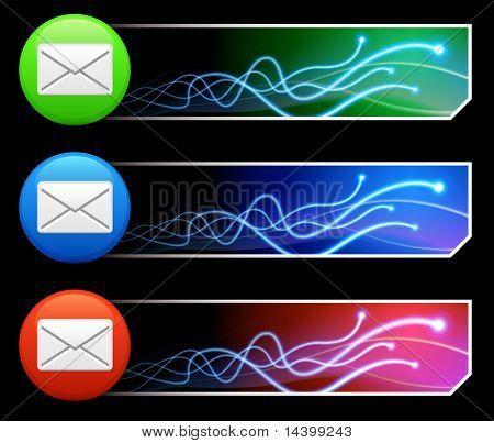 Mail Icon on Multi Colored Button Set Original Illustration