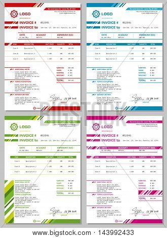 Invoice vector templates set. Payment form for business