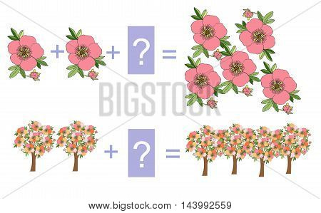 Educational game for children. Cartoon illustration of mathematical addition. Examples with flowers and flowering trees.