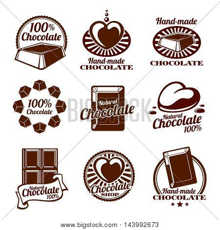 Chocolate logos, emblems and badges. Food hand made. Vector illustration