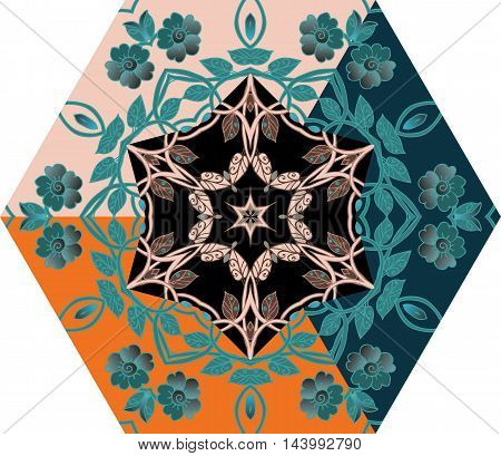 Hexagonal template with flowers for umbrella or ceramic tile. Vector image.