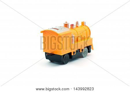 Yellow plastic train toy on white background Back side view