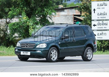 CHIANGMAI THAILAND -AUGUST 9 2016: Private suv car Benz ML250. On road no.1001 8 km from Chiangmai Business Area.