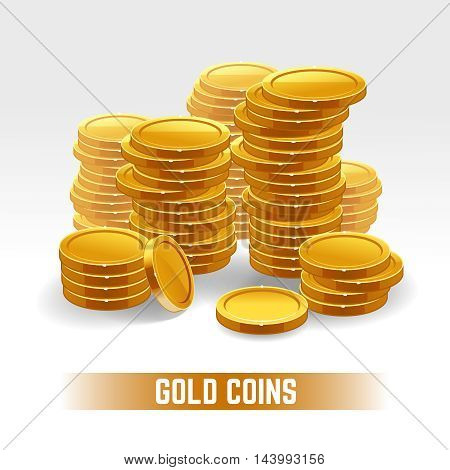 Gold coins vector pile. Money, golden finance, wealth currency illustration