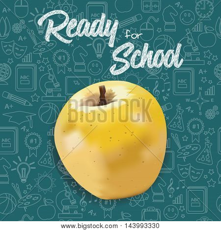 Ready for School new school year welcoming message & Yellow Apple. Stationery supplies sale banner with chalkboard background & line icons school education seamless pattern. Layered, editable