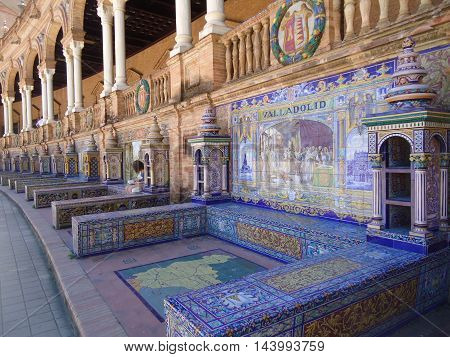 Plaza of Spain in Seville. Niches with benches in the style of Mudejar dedicated to all the provinces in Spain (Valladolid)