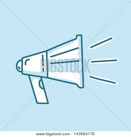 Line icon loud megaphone, marketing promotion, sharing announcement. Modern style logo vector illustration concept