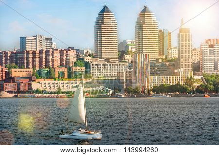 Quay of the big city at summer day, the river Dnepr, Dnepropetrovsk