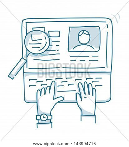Concepts for searching professional staff, analyzing resume, recruitment, human resources management, working on Laptop.